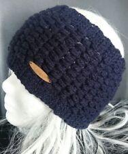 """Stirnband dunkel Blau **16cm breit** Gr. 50/52  ~ """"genoppt/geflochten"""" ~"""