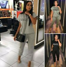 Ladies Women Vogue Short Sleeve Boxy Lounge Wear Tracksuit 2Pc Set Jogsuit UK