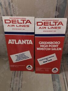 Delta Airlines Lot Of 3 Local Timetables 8-1-1982 ATL & GSO. One 12-15-1982 GSO