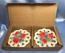 New Vintage Clean Set of 2 Raven Art Ohio Chalkware Roses + Original Box. #2699.