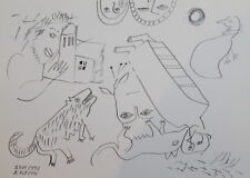 1991 - INK DRAWING ABSTRACT FUTURIST FIGURES SIGNED