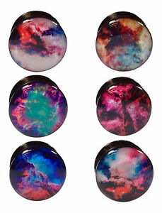 PAIR Galaxy Outer Space Style Acrylic Screw Fit Tunnels Plugs Earlets Gauges