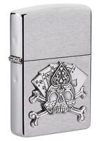 Zippo Card Skull Emblem Design Brushed Chrome Windproof Pocket Lighter, 49293