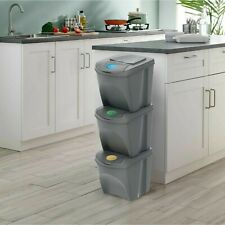 Recycle Bins 25L x 3 Food Stackable Waste Recycling Lids Kitchen Garden Dustbin