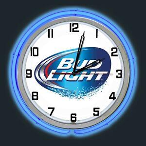 "19"" Bud Light Beer Sign Blue Double Neon Clock Man Cave Bar Garage"