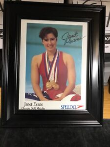 Janet Evans Framed Photo Autographed 8 By 10
