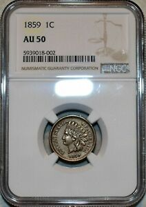 NGC AU-50 1859 Indian Head Cent, Sharp specimen.