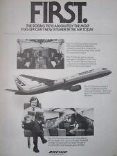 7/1982 PUB BOEING 757 AIRLINER COCKPIT PASSENGER STEWARDESS ORIGINAL AD