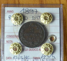 MONETA REGNO D' ITALIA UMBERTO I 2 CENT 1897 sigillata SPL SUBALPINA