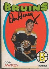 Don Awrey 1971 OPC Autograph #3 Bruins
