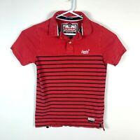Superdry 'The Breton Polo' Red Polo Shirt Size Men's Medium