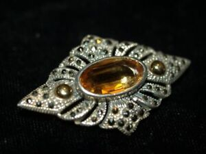 Stunning Sterling Silver Oval Cut Citrine and Marcasite Filigree Pin Brooch