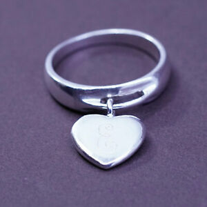 Size 7, vintage Sterling 925 silver handmade ring with heart charm engraved E