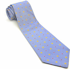 LORD & TAYLOR 58L Blue Red Marigold Woven Geometric Silk Mens Neck Tie