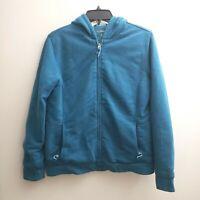 LL Bean Women's Jacket Full Zip Sz Medium Hoodie Blue Teal Fleece Lined Sweater