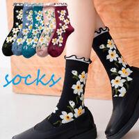 Cartoon Flower Cute Socks Women Streetwear Skate Harajuku Kawaii Sock Autumn
