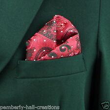 Red & Black Paisley & Dots Men's Suit Pocket Square Handkerchief Hanky New