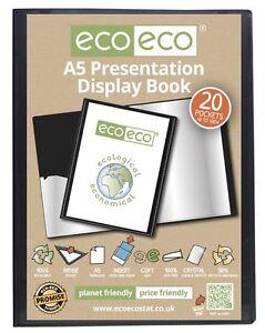eco-eco A5 50% Recycled 20 Pocket Black Folder Presentation Display Book