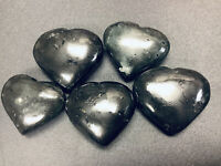 Black Tourmaline Crystal Heart - Carved Gemstone Puffy Hearts Stone Paperweight