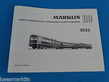 Marklin 3025 Train Set    Replica booklet 0358