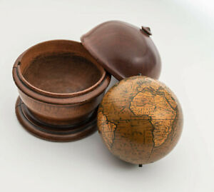 """Rare antique Newton & Son terrestrial 3"""" pocket globe with mahogany box c. 1860"""