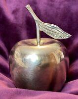 Vintage Solid Brass Apple PAPERWEIGHT MCM Decor-NOT A BELL Teacher Apple Gift