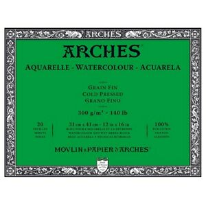 "Arches Watercolor Blocks 140 lb Cold Press Block 12"""" x 16"""" (20 Sheets)"