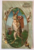 Humanized~Bunny Rabbit~Basket of Eggs~Pussy Willow Flowers Easter Postcard-s-99