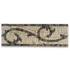 B0018T Vine Emperador 4x12 Marble Mosaic Border Listello Tile Tumbled