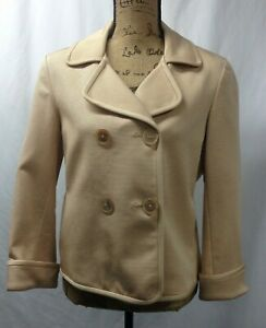 Talbots Double Breasted Grace Fit CHAMPAGNE BEIGE Cotton Silk Jacket, Size 14P