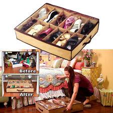 12 Cells Shoe Storage Bag Box Organizer Holder Container Under Bed Closet Brown
