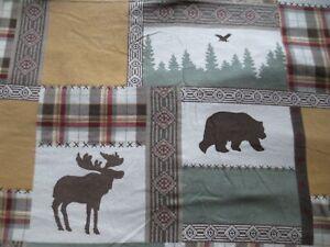 EUC CUDDL DUDS Queen Flannel Sheet Set & 2 Standard Pillow Case Cabin/Plaid