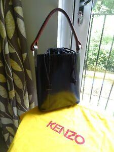 Vintage 90's Kenzo Large Black Leather Sac Pagodon 1998 Bucket Bag / Handbag