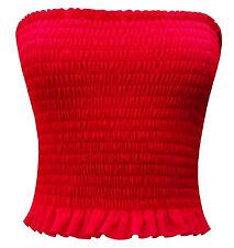 Ladies Sheering Boobtube Bralet Gather Bandeau Vest Crop Tops 8-14 Red 8-10