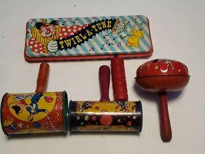 Lot 4 Vintage Metal Tin Toy Noise Makers Clapper Crank Spinner Sparkler Wheel