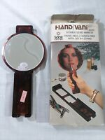 Vintage trina mirror hand-held/hands free w/set in stand..tortoise..retro..used
