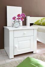 Chevet table de nuit 1 tiroir 1 porte PIRIN pin massif teinté blanc