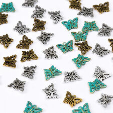 50Pcs  Tibetan Antique Silver Butterfly Pendant Charm Jewelry Making DIY