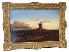 Sehr schönes Gemälde Landschaft mit Windmühle; um 1800