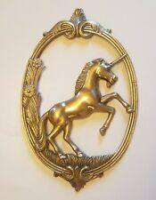 "Vintage Solid Brass Unicorn Wall Art Hanging 12"" x 8"""