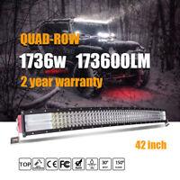 "42""inch 1736W Curved LED Light Bar Combo 4 row Off-road Bar  ATV PK 43"" 44"""