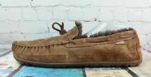 LL BEAN Men's Brown Shearling Lined Wicked Good Moccasin Slippers Size 14 M