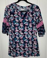 Crown & Ivy Sz 10 Girls Blue Pink Flamingo Print Crochet Sleeve Tunic Top Dress