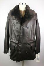 Mens Schott Perfecto Leather Shawl Shearling Collar Naval Peacoat P248S M Coat