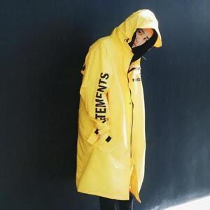 Vogue Mens Loose Mid Long Hooded Waterproof RainCoats Trench Korean Overcoat New