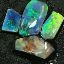 Black Opals Lightning Ridge SOLID ROUGH PARCEL RUB 4 pcs 9.60 cts