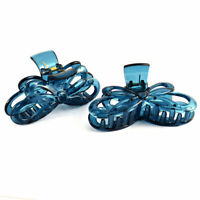 Bath Woman Plastic Butterfly Shaped Spring Loaded Hairclip Clamp Claw Blue 2 Pcs