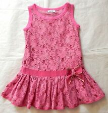 Girls Monnalisa Pink Lace Sequins Summer Dress Age 5  4-5y