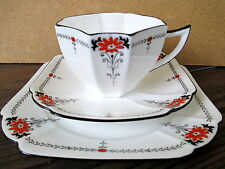 Art Deco / Vintage Tea Set Trio.Shelley Queen Anne,Red Daisy.11497.british.