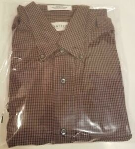 Van Heusen  XL 16 1/2 Long Sleeve Burgundy and Black One Pocket Plaid Shirt, Men